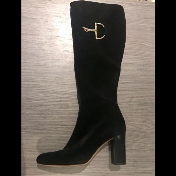 8e97d8946 Gucci Shoes | Authentic Black Suede Heel Knee High Boots | Poshmark